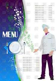 template of restaurant menu with man chief cook vector clipart