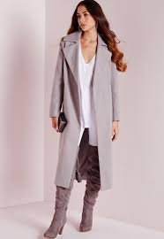 Oversized Wool Coat Light Grey Missguided