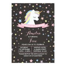 unicorn birthday party invitations u0026 announcements zazzle