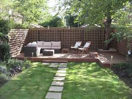 exciting long narrow backyard design ideas with grey concrete