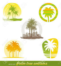 vector set palm tree emblems labels royalty free cliparts