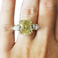 Diamond Cushion Cut Ring Platinum 10ct Fancy Yellow Cushion Cut Diamond Engagement Ring