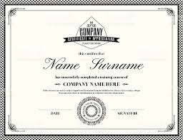 template of a retro style certificate of completion stock vector