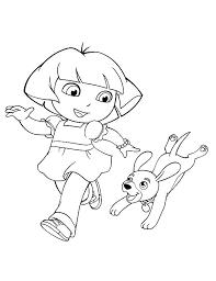 dora walking dog dora explorer coloring netart