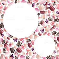 beautiful false nails nail polish sample frame for text stock