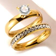 stainless steel wedding ring sets fashion design hotsale item stainless steel gold wedding rings set