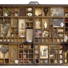 an old printer s type tray employed as a hanging ancestor altar also could be a shadow box