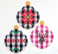 trendy buffalo check perler bead christmas ornaments with free