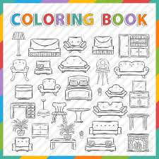 home interior deco vector coloring book hand drawn icon set with various home
