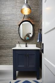 Oil Rubbed Bronze Bathroom Mirror by Casual Wallpaper Powder Room Beach Style With Navy Blue Chrome