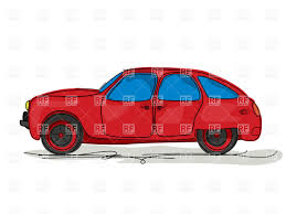 cartoon style drawing of a red family hatchback car vector image