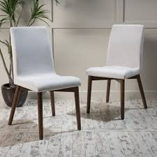 Mcm Dining Chairs by Abigail Upholstered Dining Chairs Set Of 2 In Walnut Finish Legs