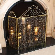 luxury gold antique style fire guard screen