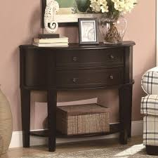 Entryway Console Table With Storage Furniture Dark Wooden Half Console Table With Two Drawer And