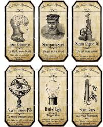 halloween steampunk assorted bottle label stickers set of 6 glossy