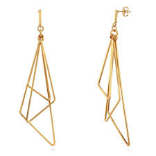 dangler earings gold tone triangle fashion dangle earrings e121