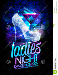 ladies night poster illustration with high heeled diamond crystals