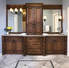 double sink vanity with middle tower his and her s master bathroom vanity with double sinks and le