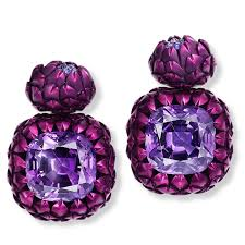 hemmerle earrings artichoke amethyst and sapphire earrings hemmerle the