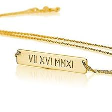 gold custom name necklace numeral bar necklace personalized name necklace