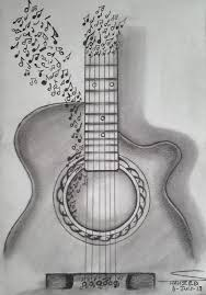 drawn guitar creative pencil and in color drawn guitar creative