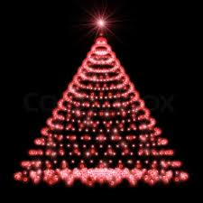 abstract christmas tree made of blue lights on black background