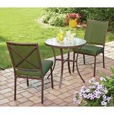Lime Green Bistro Table And Chairs Mainstays Crossman 3 Outdoor Bistro Set Green Seats 2
