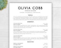word templates resume resume template mac etsy