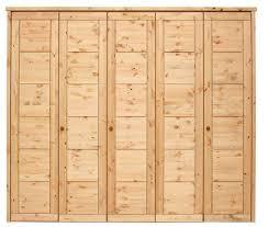 Schlafzimmer Schrank Natur Kleiderschrank 264x224x62cm 5 Holztüren Kassettenfront Kiefer