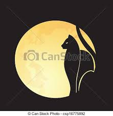 black cat moon cat s silhouette on a moon eps
