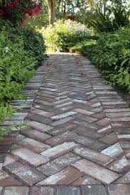 herringbone pattern handmade brick in walkway at old salem nc