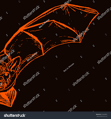 black and orange halloween background halloween postcard sketch half handdrawn bat stock vector