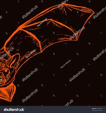 orange and black halloween background halloween postcard sketch half handdrawn bat stock vector