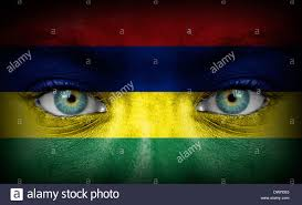Mauritius Flag Human Face Painted With Flag Of Mauritius Stock Photo Royalty