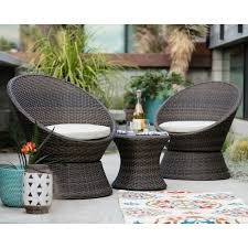 Turquoise Patio Furniture by Outsunny 3 Piece Rattan Wicker Outdoor Stacking Patio Chair Set