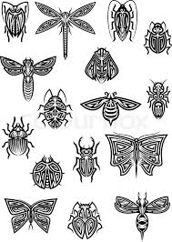 flying and crawling insects in tribal style for or
