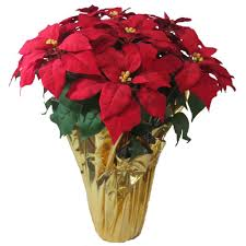 home accents holiday christmas 28 in x large red silk poinsettia