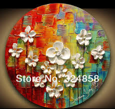 home decor abstract flowers modern style textured palette knife