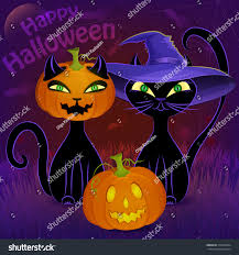 halloween background jack halloween night vector poster black cats stock vector 314395694