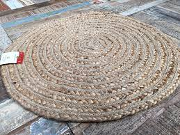 Round Straw Rug by Small 60cm Round Beige Rug Braided Natural Jute Amazon Co Uk