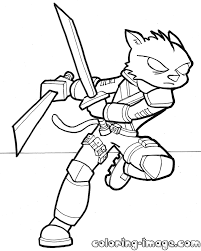 robot ninja cat free coloring pages for kids