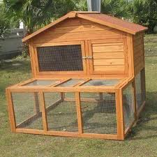 Rabbit Hutch Wood Rabbit Cage Made Of Kiln Dried Chinese Fir Wood With Two Doors
