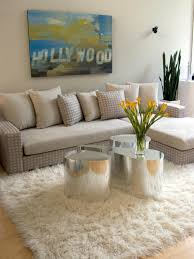 interior best beige flokati rug decor with beige sofa and pillow