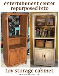 entertainment center repurposed into toy cabinet toy storage