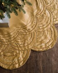 gold tree skirt beaded scalloped christmas tree skirt balsam hill
