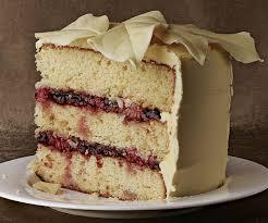 white chocolate macadamia cake with raspberries and white