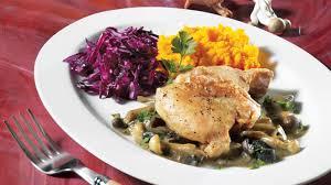 cuisiner des cuisse de poulet hauts de cuisse de poulet sauce aux chignons recettes iga