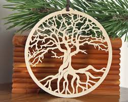 tree of ornament woodcut tree of decoration wooden