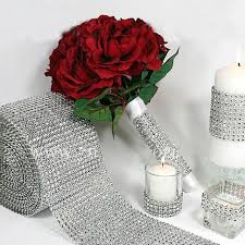 wedding decoration mesh wrap roll sparkle rhinestone looking