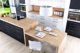 cuisine plan de travail bois aménagement cuisine blanche et bois 35 idées cool